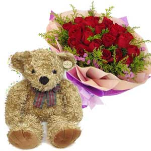Two Dozen Roses with Bear