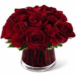 Dark Red rose In Vase