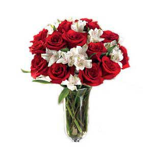 Red Roses And Alstromeria Bouquet