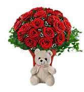 2 Dozen Red Roses with Cute Bear - Inspiration