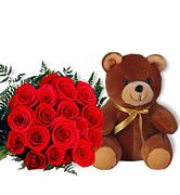 Red Roses with Cute Bear - Medley bouquet